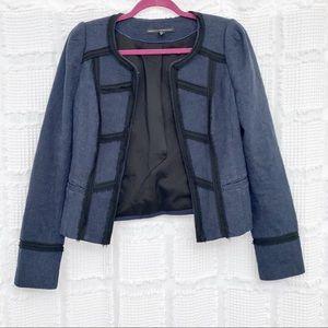 White House Black Market navy blue tweed jacket 4